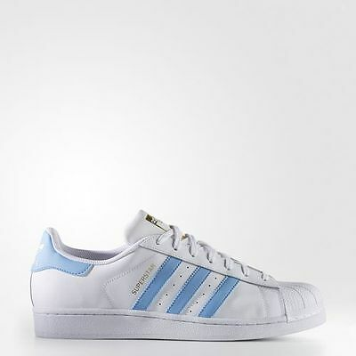 New Men's Adidas Originals Superstar Shoes  [By3716]  White/lt Blue-Gold Mtlc