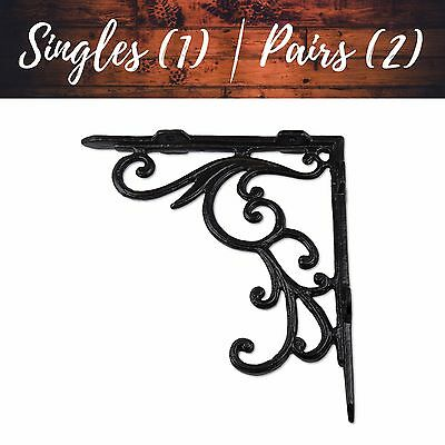 Fancy Decorative Iron Shelf Brackets | Matching Screws Included | Rustic Chic