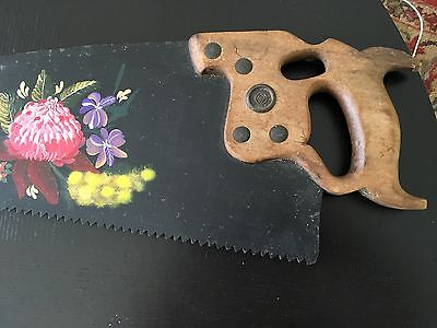 Antique DISSTON D8 hand saw - handpainted with Australian flowers
