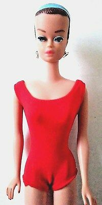 Vintage 1958 Barbie Doll - Red Bathing Suit & Heels (3) Different Colored Wigs