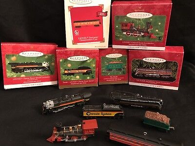 Lot Of 6 Hallmark Lionel Train Christmas Ornaments Collectors Die Cast Metal