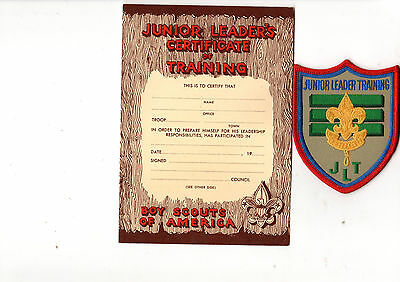 Boy Scouts of America Junior Leader Training Badge with Certificate