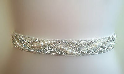 Wedding Bridal Sash Belt, Crystal Pearl Wedding Dress Sash Belt = 18 inch long