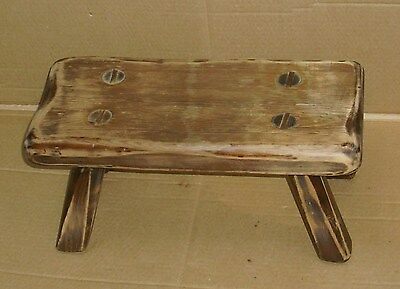 Antique Pinned Mortise & Tenon Primitive Rustic Wood Milking Stool Bench