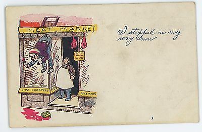 Meat Market, Chinese Stereotype, Early Comic Vintage Postcard