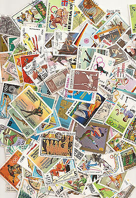 Collection of 100 Sports and Olympics Worldwide stamps (used and mint)