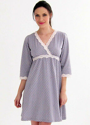 NEW - Belabumbum - Kimono Nursing Maternity Dress in Grey Polkadot