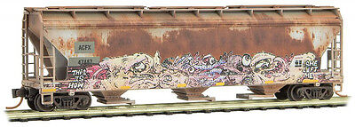 Micro-Trains MTL N-Scale 3-Bay Covered Hopper ACFX Weathered/Graffiti #47487
