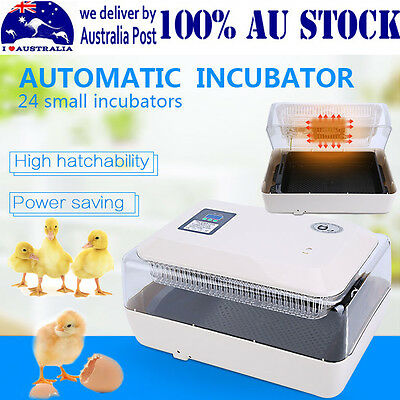 24 Eggs Incubator Digital Automatic Hatch LED Turner Chicken Duck Quail Poultry