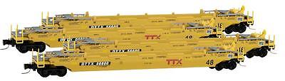 Micro-Trains MTL Z-Scale 70ft. Intermodal Well Cars TTX (Modern) - Runner 4-Pack