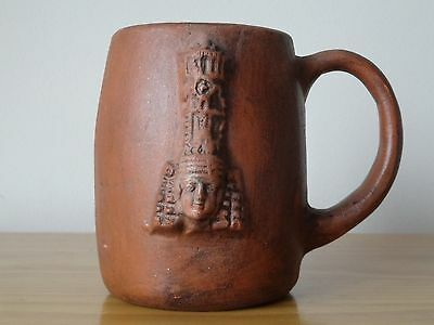 c.20th - Vintage Aztec Mayan Red Clay Pottery Mug Cup Stein Pre columbian style