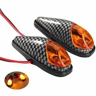 2x Universal Flush Mount Indicators Carbon Look Amber Lens Micro Teardrop 60mm