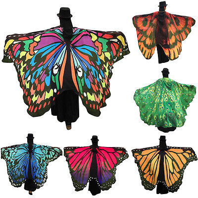 AU Women Soft Fabric Butterfly Wings Shawl Fairy Ladies Pixie Costume Accessory