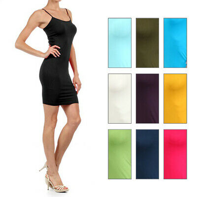 Women ONE SIZE Solid Seamless Long Cami Tank Top Spaghetti Straps Mini Dress