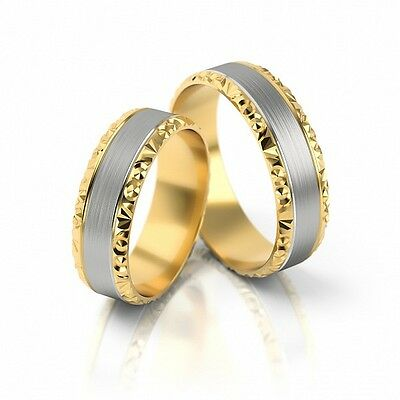 1 Pair Wedding Rings Gold 333 - Matte / Polished - Various Widths 3mm - 10mm