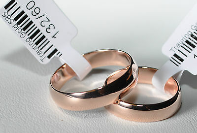 1 Pair Wedding rings Bands wedding rings Gold 585 - Rose Gold - Wide 5mm - TOP