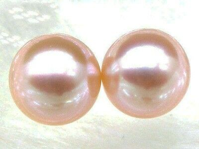 Natural 8.5mm AAA++ match pair perfect round loose pink akoya pearl half drilled