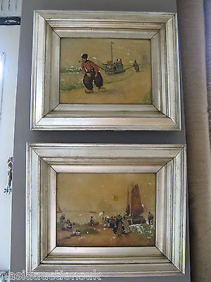 Pair of Antique Dutch Port Sea Paintings or Prints on Porcelain  Framed