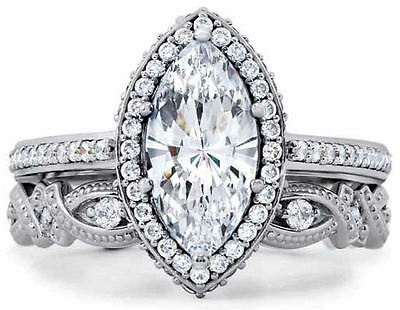 STERLING SILVER Marquise Vintage Style Engagement Ring Set Plus Size 10 11 / T V