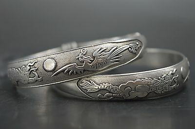 Handwork Collectable Miao Silver Carve Dragon Phoenix Auspicious Bracelet