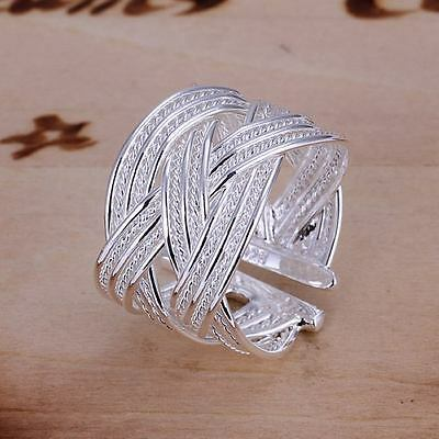 beautiful Fashion solid silver 925 Pretty cute open mesh party Ring jewelry hot