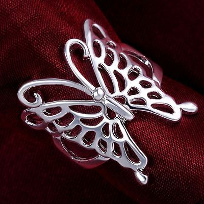 hot sale Silver Plated women new Fashion Wedding Lady Butterfly Rings Jewelry