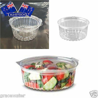 Clear Plastic Sho Bowl 12oz Hinged Flat Lid Outdoor Picnic Supply AU Stock 150PC