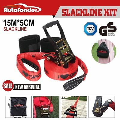 Autofonder Slackline Set 15m Balance Line Entry Level Kit Heavy Duty