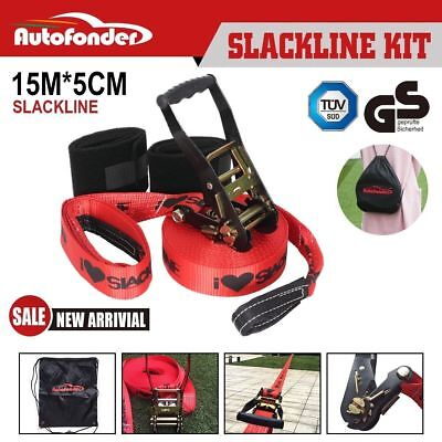 Autofonder Slackline Set 15m Slack line Balance Line Entry Level Kit Heavy Duty