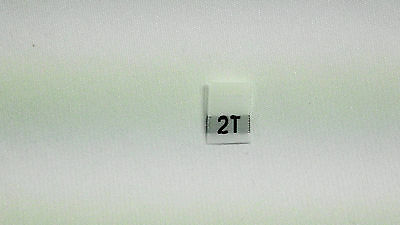 "White, woven clothing labels size "" T2 ""    (sew On)  70  pieces"