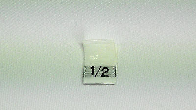 "White, woven clothing labels size ""1/2""    (sew On)  250  pieces"