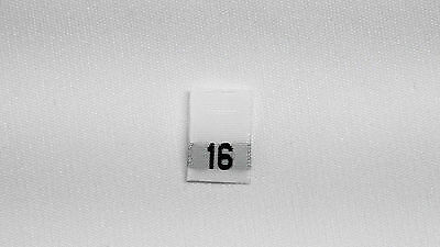 White, woven clothing labels size 16   (sew On)  100 pieces