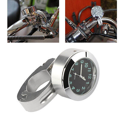"""Silver New 7/8""""to 1"""" Motorcycle Handlebar Clock Mount Watch Accessory Universal"""