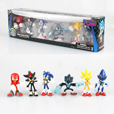 6 Pcs Sega Sonic The Hedgehog Action Figure Collection PVC Toy Kid Play Set Gift