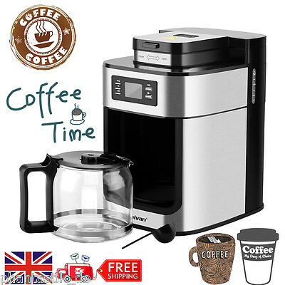 Automatic Grind & Brew 10 Cup Stainless Filter Coffee Maker Machine Programmable
