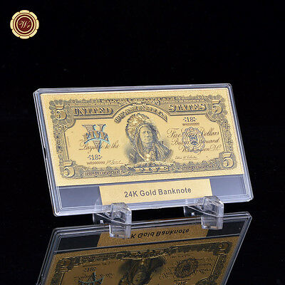 WR 24K USA 1899 $5 Chief Silver Certificate Gold Banknote +Plastic Display Frame