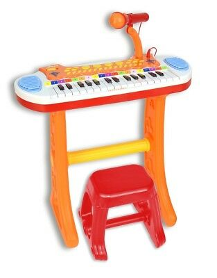 Bontempi Electronic Keyboard with 31 Keys, Microphone and Stool with Light Show,