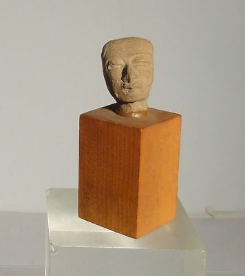 Antique Early Pre Columbian Carved Mexican South American Head Figure Mayan