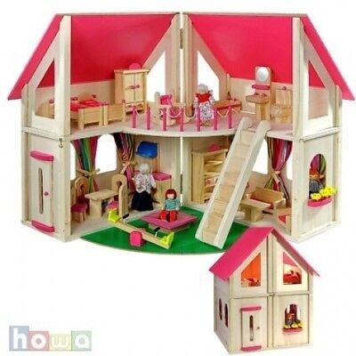 wooden doll's house with furniture and dolls by howa 7013. Shipping is Free