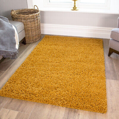 Mustard Ochre Gold Yellow Shaggy Rugs Warm Thick Non Shed Fluffy Living Room Rug