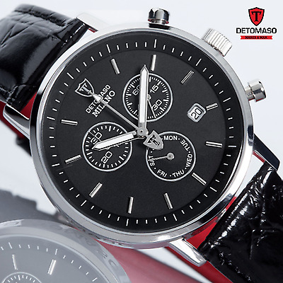 DETOMASO Milano Swiss ISA Chronograph Mens Watch S-Steel Black Leather New