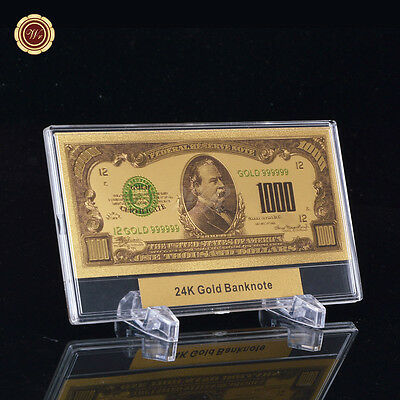 WR American $1000 Dollar Banknote 24k Gold Foil US Bank Note with Display Frame