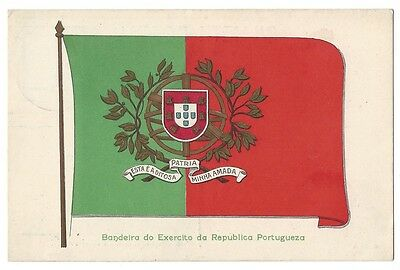 Army Flag of the Republic of Portugal, Postally Used Postcard c1911