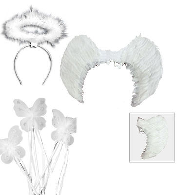 Girls / Ladies Fairy Angel Feather Wings, Wand Halo Accessories Set