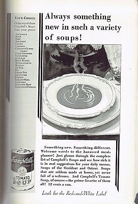 Vintage Ad, Campbells Soup, Rev Side: Bell Telephone System, 1930