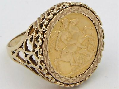 9 & 22Ct Yellow Gold King George V 1911 Full Sovereign Coin Ring UK Size Z 1/2
