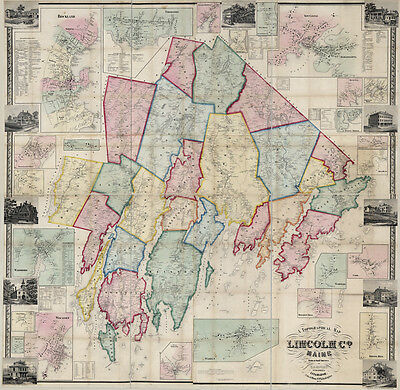 1857 Map of Lincoln County Maine Genealogy LARGE 40 x 41 Map