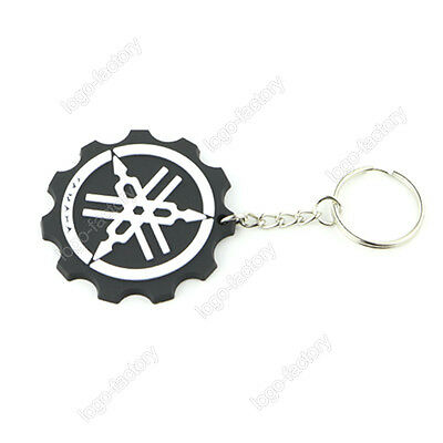 YAMAHA Keyring Keychain White Black Rubber Motorcycle Racing Collectible Gift