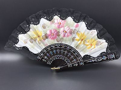 HAND PAINTED Hand Fan With Flowers Signed 114854 Estate Find