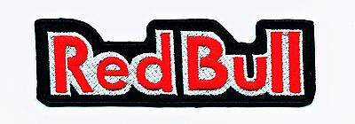 RED BULLS TEXT LOGO Racing Iron patch Biker Embroidered Sew Cloth